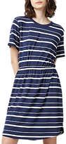 Warehouse Stripe Gathered Waist Dress, Blue Stripe