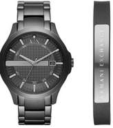 Armani Exchange Hampton Ion-Plated Stainless Steel Y-Link Bracelet Watch and Leather Cuff Bracelet Gift Set