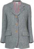 Thom Browne Wide Lapel Single Breasted Sport Coat In Herringbone Harris Tweed
