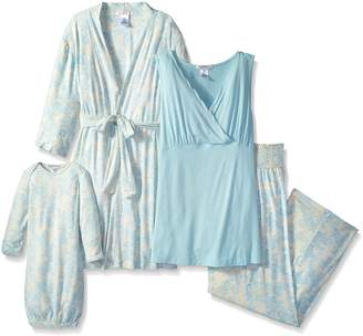 Everly Grey Women's Maternity Roxanne 5-Piece Nursing Pajama Set with Robe and Tank