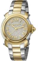 Roberto Cavalli Womens Two-tone Silver/gold Watch With Two-tone Silver/full Stones Dial.