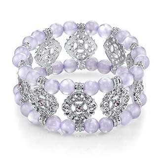 """1928 Jewelry Pastel Bracelets"""" Silver Tone Lavender Stretch Bracelet"""