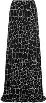 Issa Rigby printed silk-blend jersey maxi skirt