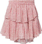 LoveShackFancy Pink Ruffle Mini Skirt