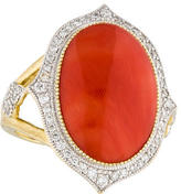 Jude Frances 18K Coral & Diamond Cocktail Ring