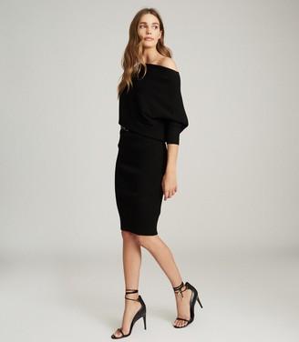 Reiss LARA OFF-THE-SHOULDER KNITTED DRESS Black