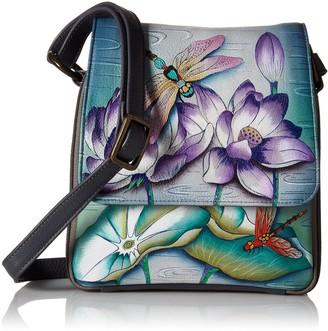 Anuschka Women's Leather Bag | Hand Painted Original Artwork | Crossbody Organizer | Tranquil Pond