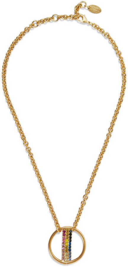 Elizabeth Cole Leroy 24-karat Gold-plated Swarovski Crystal Necklace