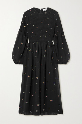 Ganni Smocked Printed Georgette Midi Dress - Black