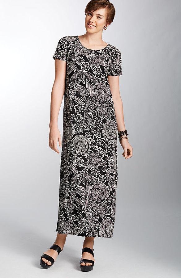 J. Jill Wearever print long side-vent dress
