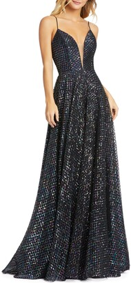 Mac Duggal Multicolor Lattice Sequin Gown