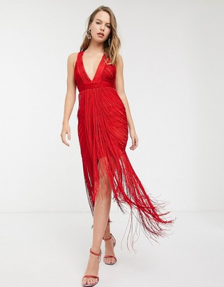 Asos Design DESIGN Eivissa all over fringe drape halter neck midaxi dress-Red