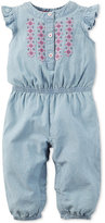 Carter's Flutter-Sleeve Embroidered Chambray Jumpsuit, Baby Girls (0-24 months)