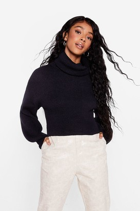 Nasty Gal Womens Puff Sleeve Turtleneck Sweater with Fitted Cuffs - Black
