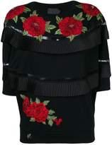 Philipp Plein embroidered rose pleated T-shirt