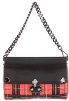 Moschino Suede & Leather Plaid Handle Bag
