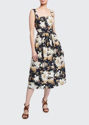 Oscar de la Renta Belted Floral-Print Poplin Day Dress