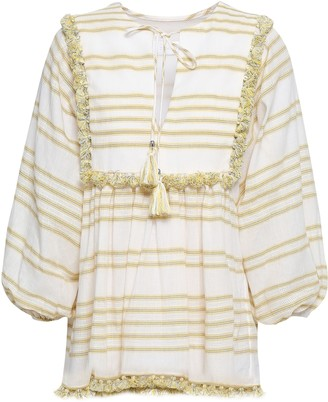 Zimmermann Tasseled Striped Cotton-blend Blouse