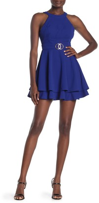 Love, Nickie Lew Halter Neck Layer Hem Skater Dress