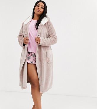 Asos DESIGN Curve super soft hooded midi robe-Brown
