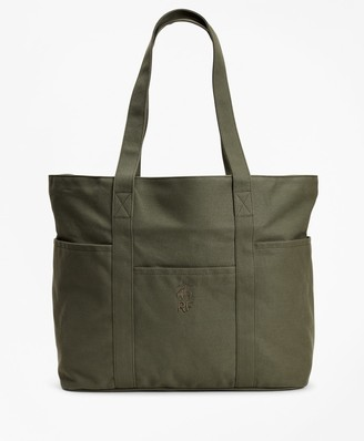 Brooks Brothers Red Fleece Canvas Tote Bag