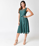 Unique Vintage 1950s Style Forest Green Floral Illusion Swing Dress