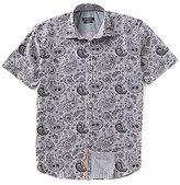 Bugatchi Shaped-Fit Paisley Print Short-Sleeve Woven Shirt