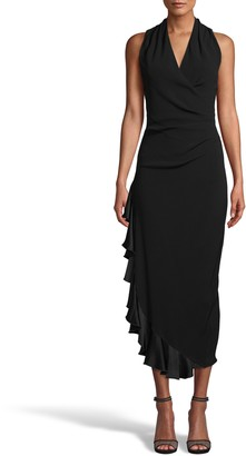 Nicole Miller Satin Back Crepe Midi Dress W/ Ruffle