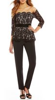 Eliza J Off the Shoulder Lace Peplum Jumpsuit