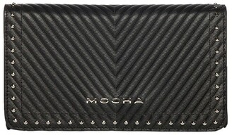 Mocha Chevron Stud Leather Mini Bag - Black