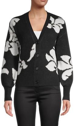 Design History Floral Short Cardigan Sweater