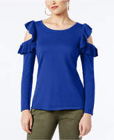INC International Concepts I.n.c. Petite Ruffled Cold-Shoulder Sweater, Created for Macy's