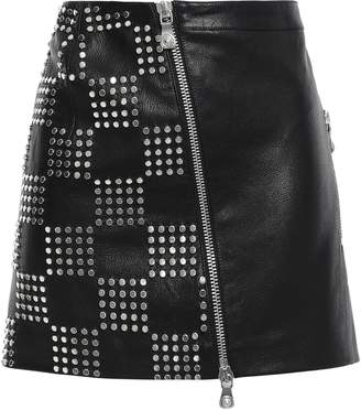 Versace Studded Textured-leather Mini Skirt