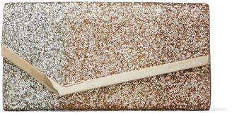 Jimmy Choo EMMIE Rose-Gold Degrade Glitter Leather Clutch Bag