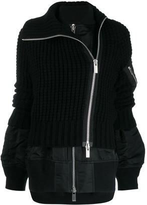 Sacai hybrid knit bomber jacket