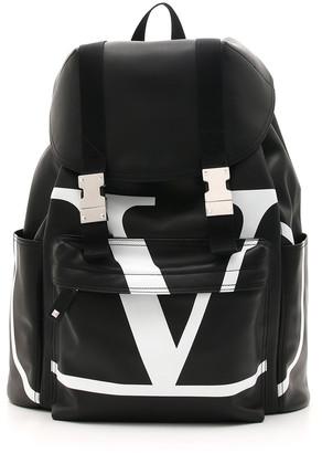 Valentino Men's VL Logo-Front Leather Backpack