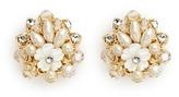 Miriam Haskell Layered filigree floral pearl crystal stud earrings