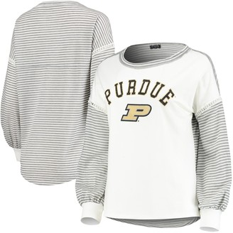 Women's White Purdue Boilermakers Line It Up Striped Bubble Long Sleeve T-Shirt