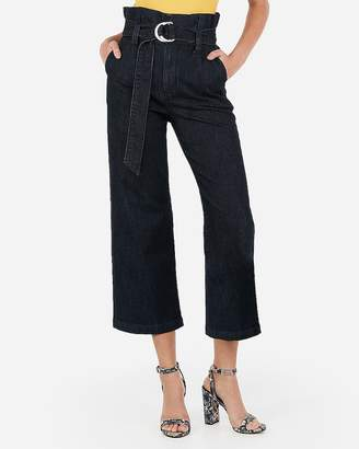 Express Super High Waisted Belted Cropped Wide Leg Jeans