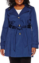 Liz Claiborne Double-Collar Belted Trench Coat - Plus