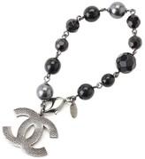 Chanel CC Black Gunmetal Fake Pearl Beads Bracelet
