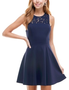 City Studios Juniors' Cutout-Back Fit & Flare Dress