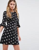 Oasis Clover Print Dress with Peter Pan Collar