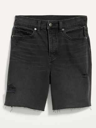 Old Navy Extra High-Waisted Sky Hi Black Button-Fly Jean Shorts for Women -- 7-inch inseam