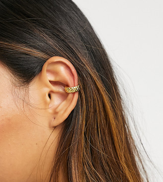 Orelia chunky quilted ear cuff in gold plate