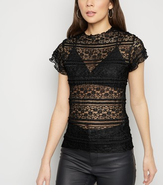 New Look Frill Lace Short Sleeve Top
