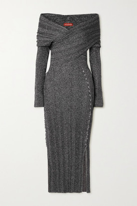 Altuzarra Mattie Off-the-shoulder Metallic Stretch-knit Midi Dress - Silver