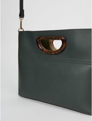George Dark Green Resin Handle Mini Tote Bag