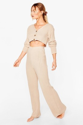 Nasty Gal Womens Rib Mix V Neck Cardigan + Wide Leg Lounge Set - Beige - S, Beige