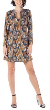 24seven Comfort Apparel Women's Paisley Print Square Neck Long Sleeve Shift Dress